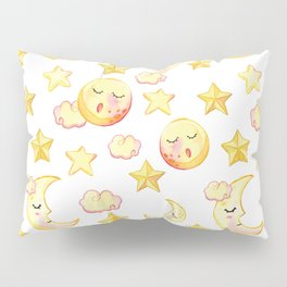 Yellow pink  watercolor dreamy stars moon sun pattern Pillow Sham