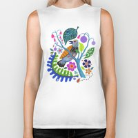 botanical Biker Tanks featuring Bird Botanical by Janna Morton