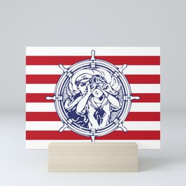 Sail Away With Me | Sailing Couple | Nautical | Red and White Stripes | Mini Art Print