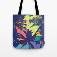 palm tree Tote Bags featuring Palm tree by PINT GRAPHICS