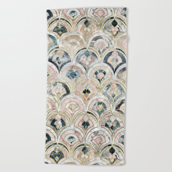Art Deco Marble Tiles in Soft Pastels Beach Towel