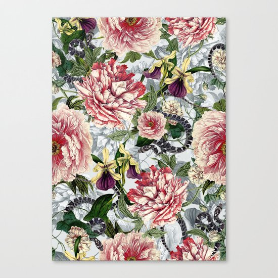 Snakes And Flowers Canvas Print