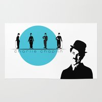 charlie chaplin Area & Throw Rugs featuring Stencil Charlie Chaplin by L & T Designs