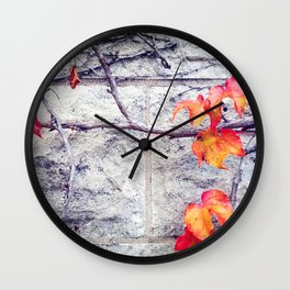 Red Leaves Growing by the Wall. Autumn Wall Clock