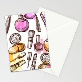 Modern Makeup Pattern Art Stationery Cards