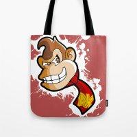 donkey kong Tote Bags featuring DONKEY KONG DIGITAL ART by studio1six