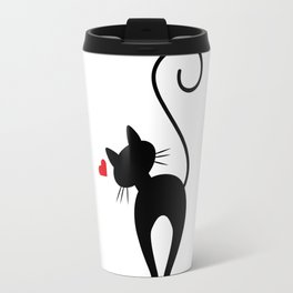 Silhouette Black Cat with Red Heart Travel Mug