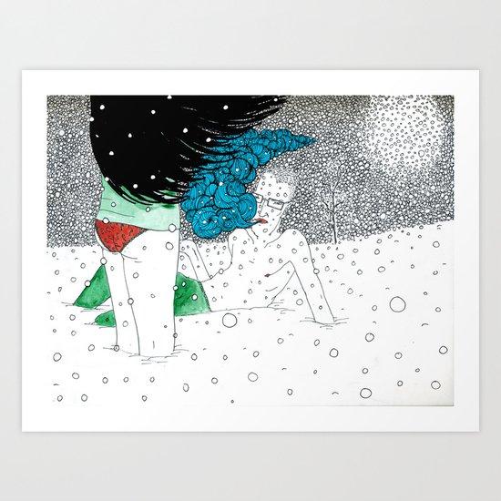 snow fight Art Print