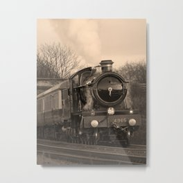 Rood Ashton Hall steam loco in sepia Metal Print