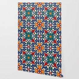Colorful Azulejos Pattern Wallpaper