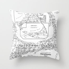Vintage Cape Cod Cyclist Map (1893) BW Throw Pillow