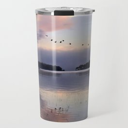 Uplifting: Geese Rise at Dawn on Lake George Travel Mug