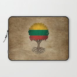 Vintage Tree of Life with Flag of Lithuania Laptop Sleeve