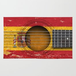Old Vintage Acoustic Guitar with Spanish Flag Rug