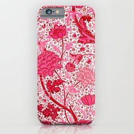 William Morris Jacobean Floral, Coral Pink and Fuchsia iPhone Case