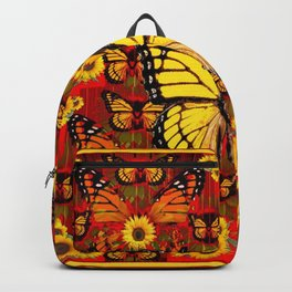 COFFEE BROWN MONARCH BUTTERFLY SUNFLOWERS Backpack