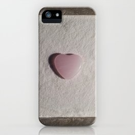 Rose Quartz heart in a zen garden iPhone Case