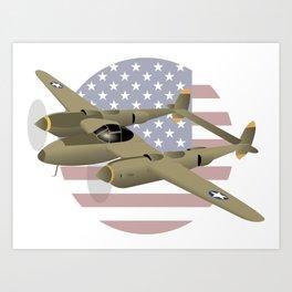 WW2 P-38 Lightning Airplane with US Flag Art Print