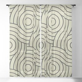 Circle Swirl Pattern Muted Green Inspired By Natural Olive Green - Martinique Dawn - Asian Silk Sheer Curtain