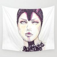 fashion illustration Wall Tapestries featuring Fashion illustration  by Ioana Avram