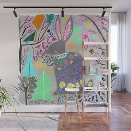 Folk Art Rabbit (grey background) Wall Mural