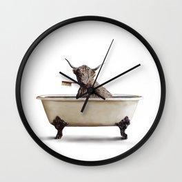 Cow in Bath Wall Clock