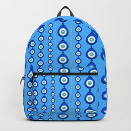 Evil Eye pattern - sky blue with golden accents Backpack