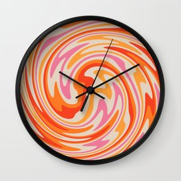 70s Retro Swirl Color Abstract Wall Clock