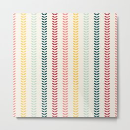 Seamless floral pattern with distressed look twigs and leaves in retro pastel colors - pink, teal, r Metal Print