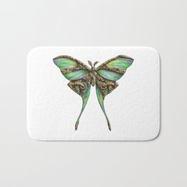 Steampunk Green Luna Moth Bath Mat