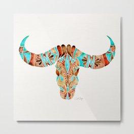 Water Buffalo Skull – Blue & Brown Metal Print