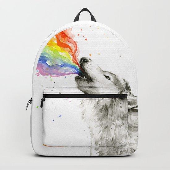 Wolf Rainbow Watercolor Animal Backpack