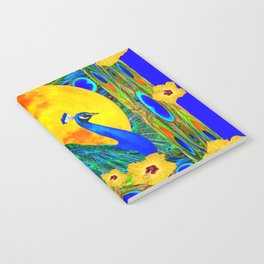 YELLOW HIBISCUS FULL GOLDEN MOON  BLUE PEACOCKS Notebook