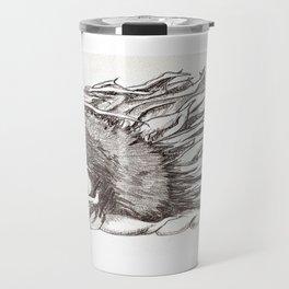 sunflower black and white Travel Mug