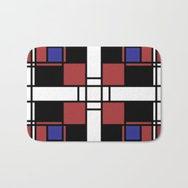 Neoplasticism symmetrical pattern in Well Read (red) Bath Mat