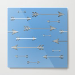 Silver arrows on blue Metal Print