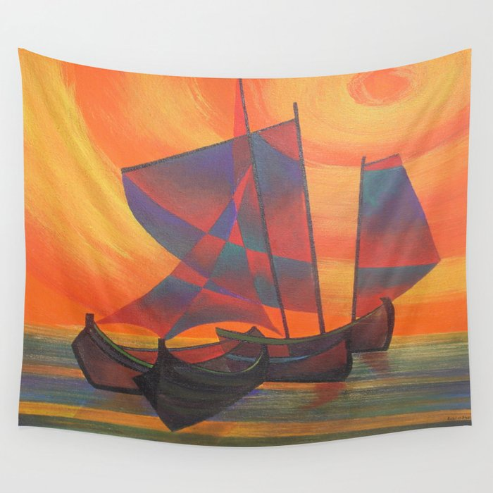 Red Sails In The Sunset Cubist Junk Abstract Wall Tapestry By Taiche