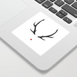 Minimalist Rudolph with red nose Sticker