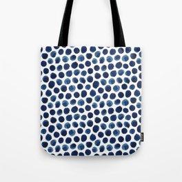 Large Indigo/Blue Watercolor Polka Dot Pattern Tote Bag