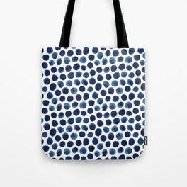 Large Indigo/Blue Watercolor Polka Dot Pattern Tote Bag