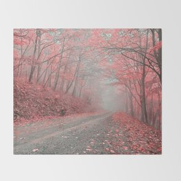 Misty Forest Road - Tickle Me Pink Throw Blanket