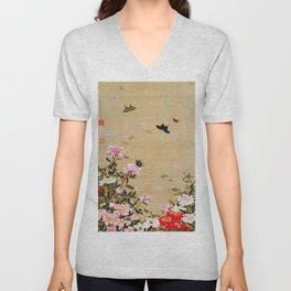 Ito Jakuchu - Butterflies And Peonies - Digital Remastered Edition Unisex V-Neck