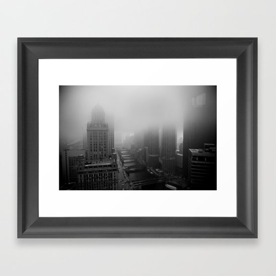 Fog Over Chicago Framed Art Print