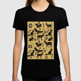Folk Art Forest Animals, Mustard T-shirt