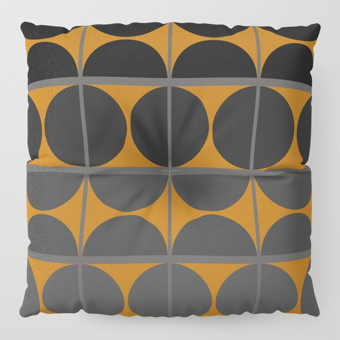 Black and Gray Gradient with Gold Squares and Half Circles Digital Illustration - Artwork Floor Pillow