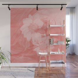 Surreal butterflies and flowers in living coral Wall Mural