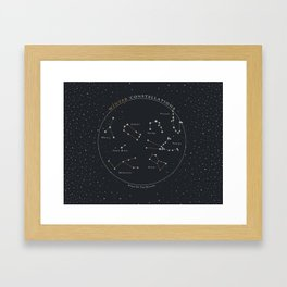 Winter Constellations Astronomy Star Chart Framed Art Print