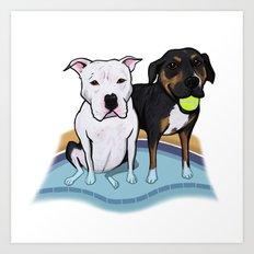 Pups In The Pool Art Print