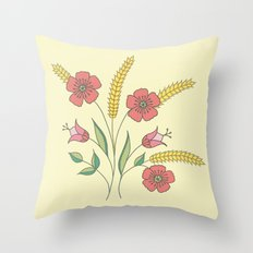 Floral placement on beige Throw Pillow