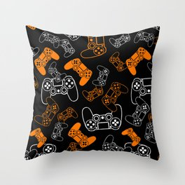 Video Games Orange on Black Throw Pillow